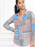 Womens Patchwork The Signature Shirt in Patchwork 4