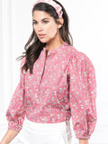 Womens Pink Ditsy Floral The Balloon Sleeve Shirt 2