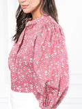 Womens Pink Ditsy Floral The Balloon Sleeve Shirt 4