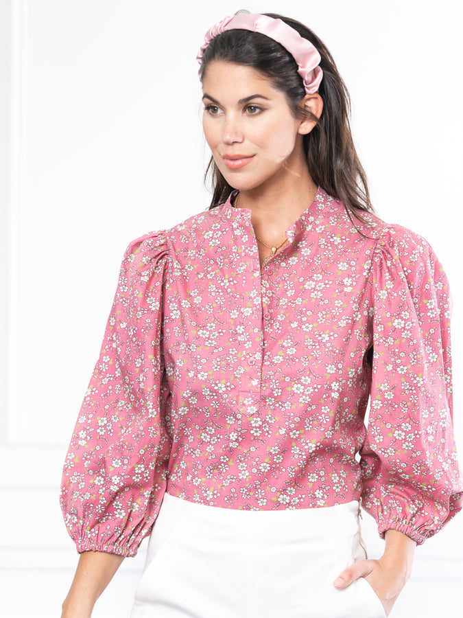 Womens Pink Ditsy Floral The Balloon Sleeve Shirt