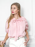 Womens Pink/Pink Satin Stripe The Antoinette Shirt