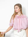 Womens Pink/Pink Satin Stripe The Antoinette Shirt 2