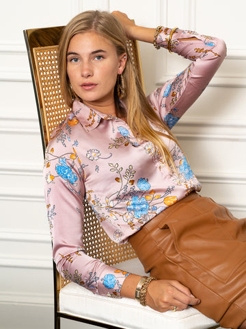 Womens Pink Satin Blossoms The Signature Shirt in Blush Satin Floral