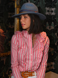 Womens Pink/White The Ruffled Shirt in Pink Wide Stripe 2