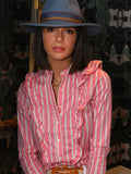 Womens Pink/White The Ruffled Shirt in Pink Wide Stripe