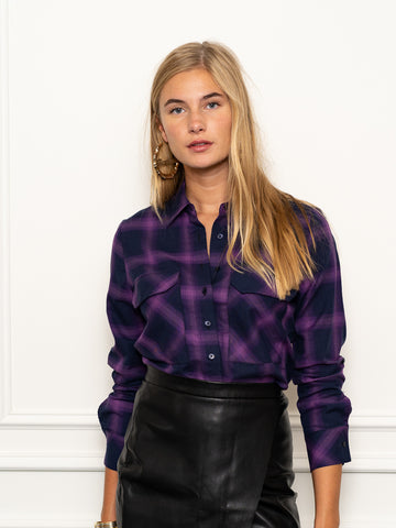 Womens Purple Plaid The Signature Shirt in Purple Plaid w/ Pockets