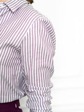Womens Purple/Silver The Boyfriend Shirt with Purple/White Stripes 2