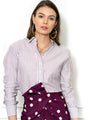 Womens Purple/Silver The Boyfriend Shirt with Purple/White Stripes