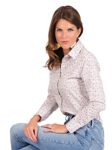 Womens Purple/White Floral The Icon Shirt in Floral 2