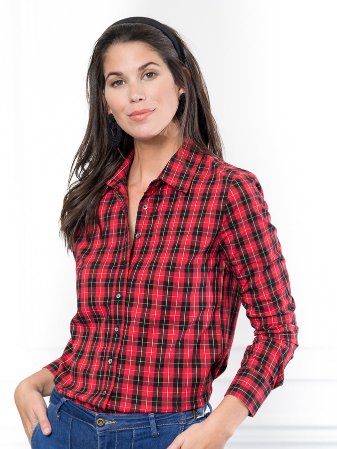 Womens Red Buffalo Tartan The Icon Shirt in Red Buffalo Tartan