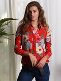 Womens Red Floral The Signature Shirt in Black and White and Red Allover 2