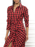 Womens Red Tartan Plaid The Wrap Front Dress 2