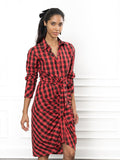 Womens Red Tartan Plaid The Wrap Front Dress 4