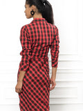 Womens Red Tartan Plaid The Wrap Front Dress 6