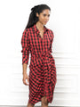 Womens Red Tartan Plaid The Wrap Front Dress