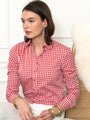 Womens Red/White Check The Icon Shirt in Large Check w/ Peter Pan Collar