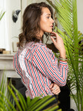 Womens Red/White/Navy Stripe The Ruffled Shirt 2