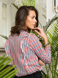 Womens Red/White/Navy Stripe The Ruffled Shirt 4