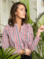 Womens Red/White/Navy Stripe The Ruffled Shirt