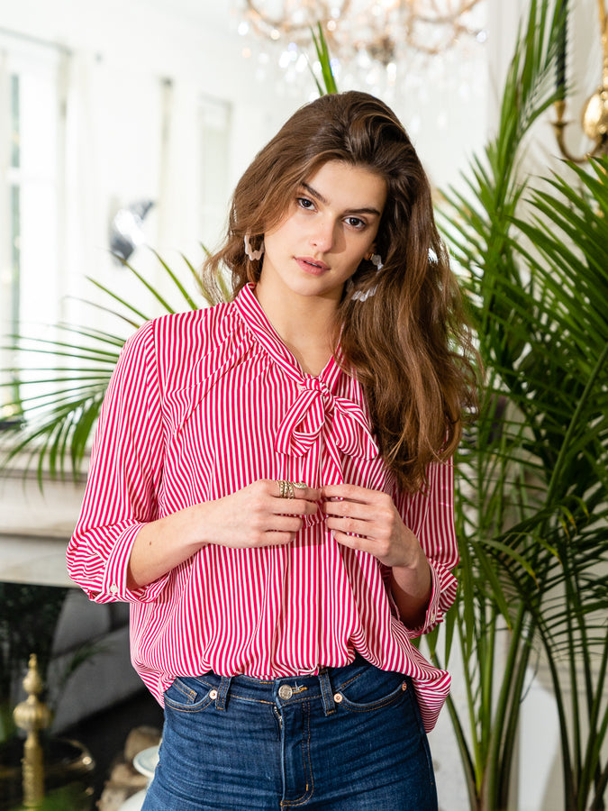 Womens Red/White Stripe The Bow Shirt