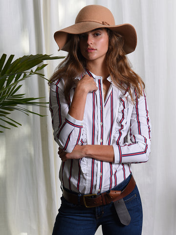 The Ruffled Shirt - Red/White