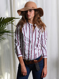 Womens Red/White The Ruffled Shirt 4