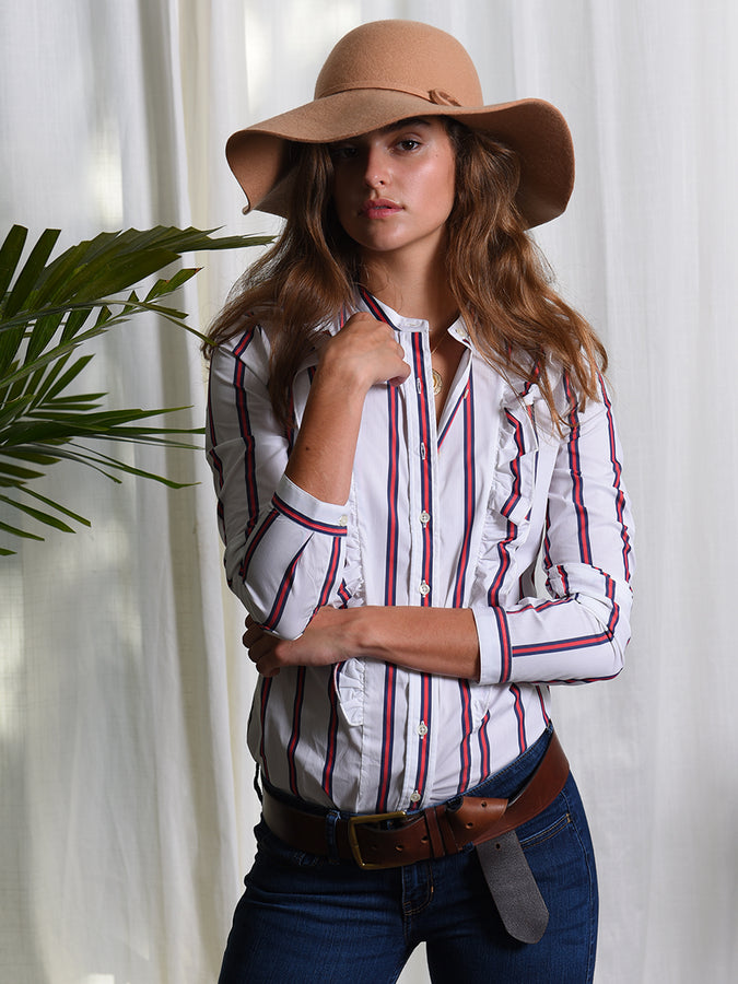 Womens Red/White The Ruffled Shirt