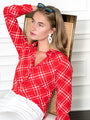 Womens Red/White The Signature Shirt in Red/White Windowpane Plaid