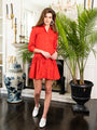 Womens Red The Drop Waist Shirt Dress 2