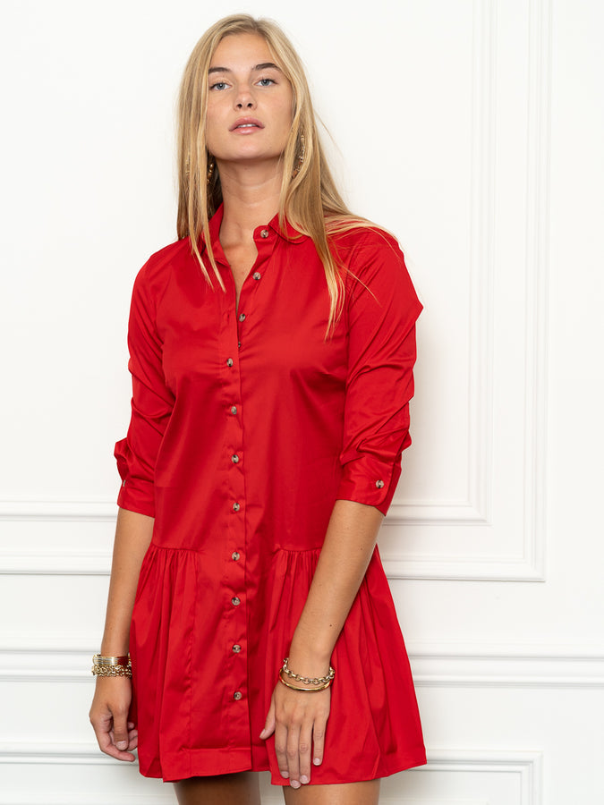 Womens Red The Drop Waist Shirt Dress