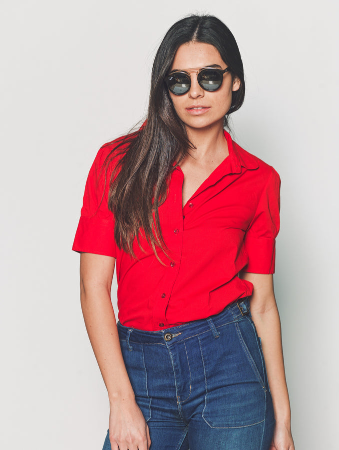 Womens Red The Short Sleeve Puff Shoulder Shirt in Red