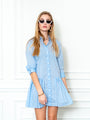 Womens Sky Blue Check The Drop Waist Shirt Dress 2