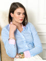 Womens Sky Blue Check w/ Pink Collar and Cuffs The Icon Shirt in Check
