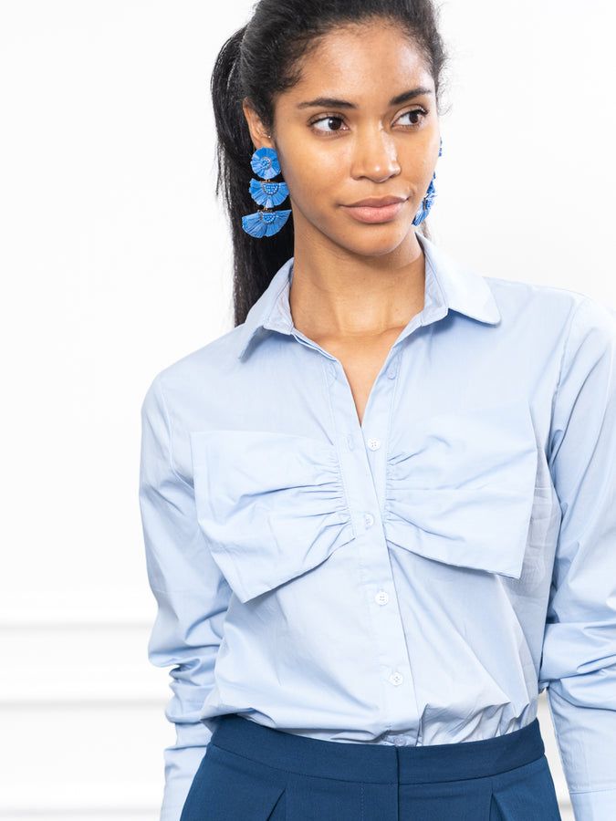 Womens Sky Blue The Bow Shirt