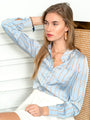 Womens Sky Blue The Signature Shirt in Sky Blue/Cognac Stripes