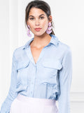 Womens Sky Blue The Signature Shirt with Pockets 4