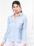 Womens Sky Blue The Signature Shirt with Pockets 5