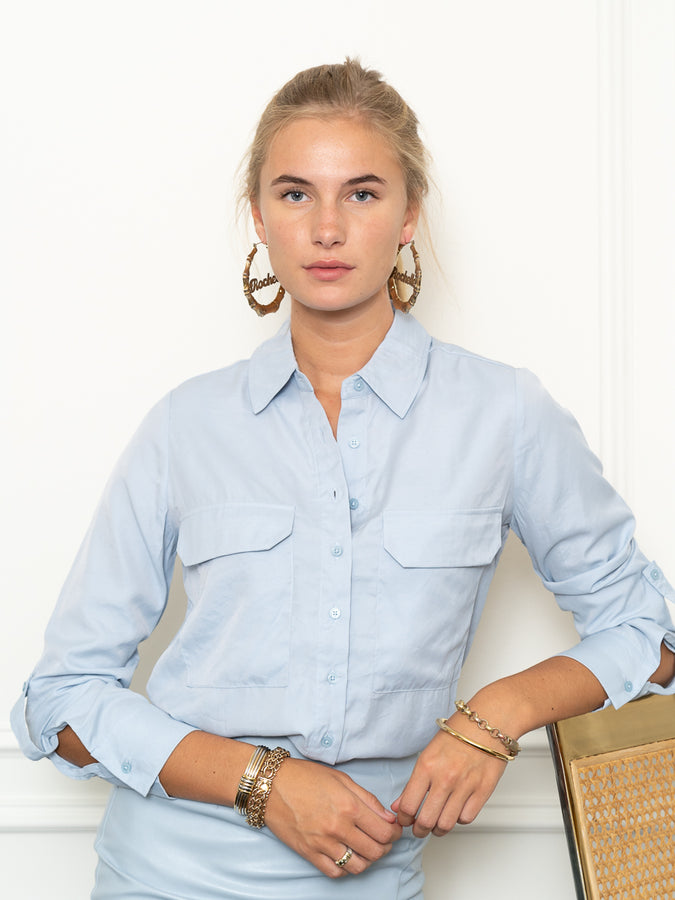 Womens Sky Blue The Signature Shirt with Pockets