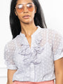 Womens Sky Daisy The Short Sleeve Ruffled Shirt