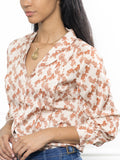 Womens Tan Horse Print The Lounge Shirt 2