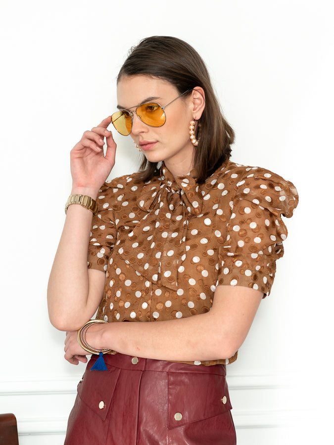 Womens Tan/White Dots The French Bow Shirt