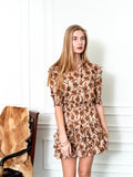 Womens Taupe Blossoms The Ruffled Mini Dress in Taupe Blossoms 6