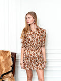 Womens Taupe Blossoms The Ruffled Mini Dress in Taupe Blossoms