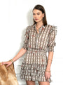 Womens Taupe Check The Ruffled Mini Dress in Floral Check