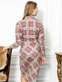 Womens Taupe Monkey Plaid The Wrap Front Dress 2