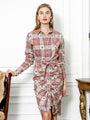 Womens Taupe Monkey Plaid The Wrap Front Dress