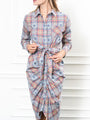 Womens Taupe/Navy Monkey Plaid The Wrap Front Dress