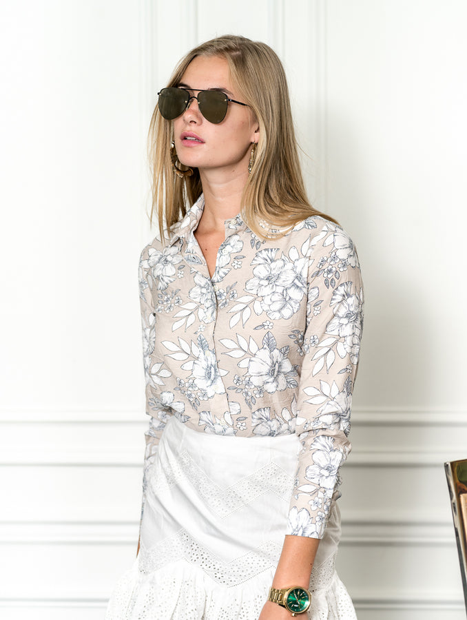 Womens Taupe The Icon Shirt in Hawaiian Print