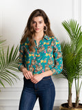 Womens Teal  Multi The Signature Shirt in Teal Pagoda Print