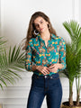 Womens Teal  Multi The Signature Shirt in Teal Pagoda Print 2